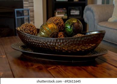 Basket decor on farm style coffee table