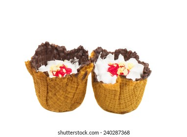 basket with dessert on a white background