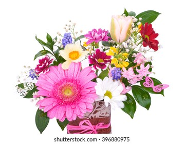 Basket with different kinds of flowers on white background