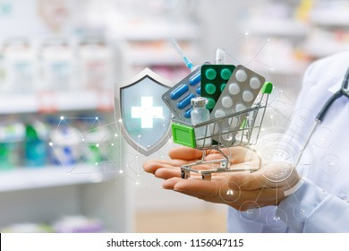 Basket of drugs in the hands of the pharmacist. Concept online drugstore.