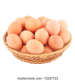 Basket with eggs isolated on white.