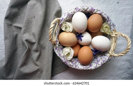 Basket with eggs in vintage style