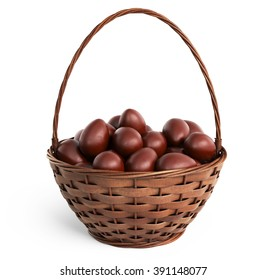 Basket filled chocolate eggs. Easter 3D, isolated on white background