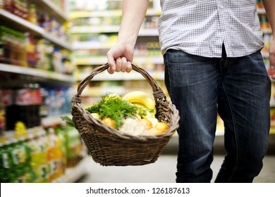 Basket filled healthy food