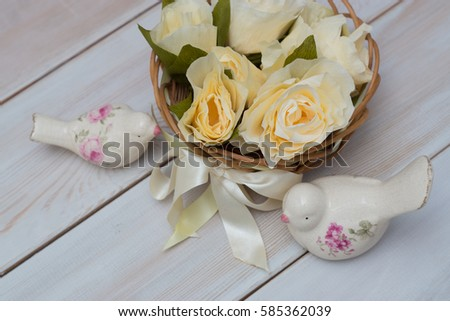 Basket Flowers Made Tissue Paper By Stock Photo Edit Now 585362039