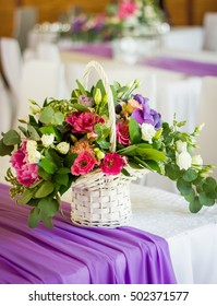 basket of flowers on a festive table