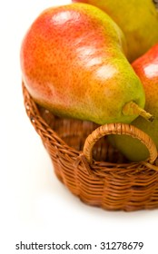 Basket of Forelle Pears Isolated on White