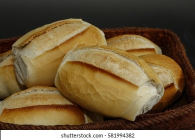 """Basket of """"French bread"""", traditional Brazilian bread, present at tables and meals throughout the country - Sao Paulo, Brazil"""