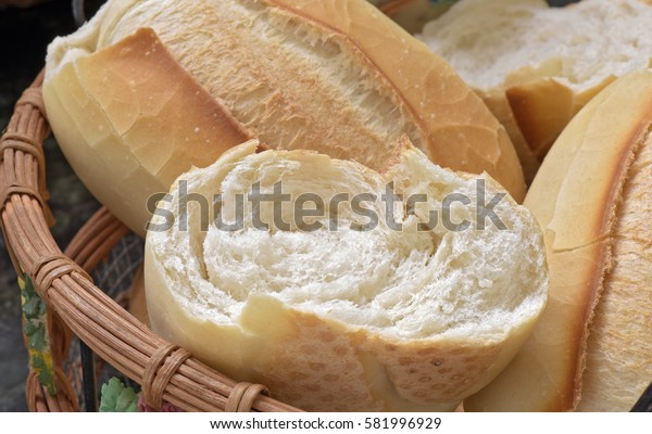 "Basket of ""French bread"", traditional Brazilian bread, present at tables and meals throughout the country - Sao Paulo, Brazil"