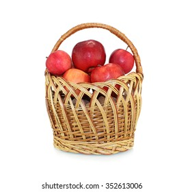 A basket of fresh Apples on a white background