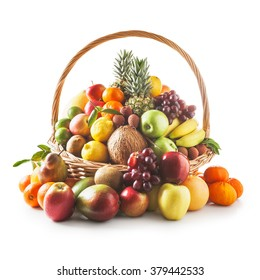 Basket with fresh fruits. Healthy eating and dieting concept. Winter assortment. Objects group on white background clipping path included