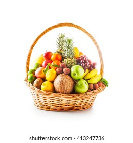 Basket of fresh fruits. Healthy eating and dieting concept. Winter assortment. Single object on white background