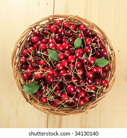 Basket of fresh red cherries