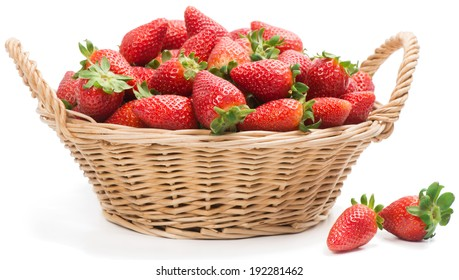 basket with fresh strawberries, isolated on white