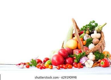 Basket with fresh vegetables and fruits. Healthy eating.