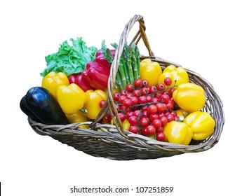 basket of fresh vegetables on a white background