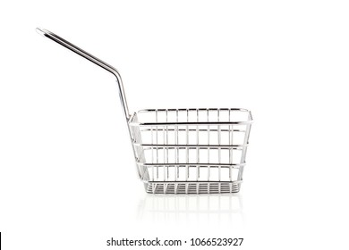 Basket of freshly made French fries isolated on a white background.