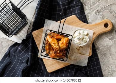Basket of fried chicken wings