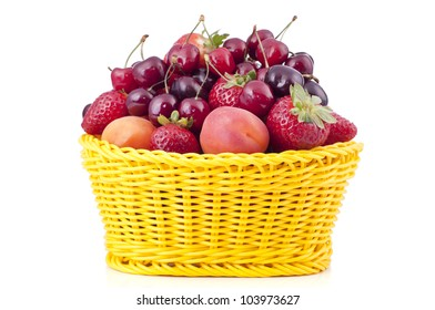 Basket with fruit on a white background.