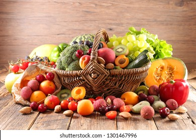 basket with fruit and vegetable