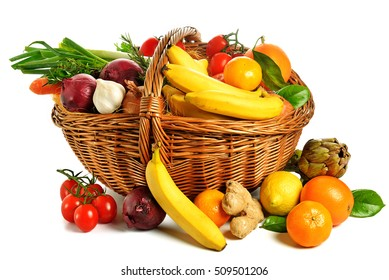 basket of fruits and vegetables on white background