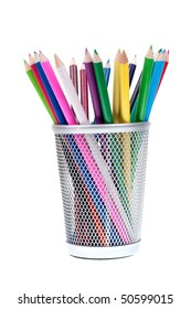 Basket full of crayons isolated on white background