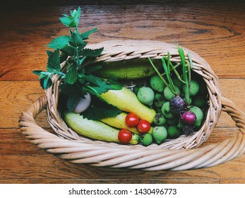 Basket full of fresh produce from the garden