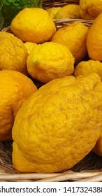 Basket full of fresh ripe citrons