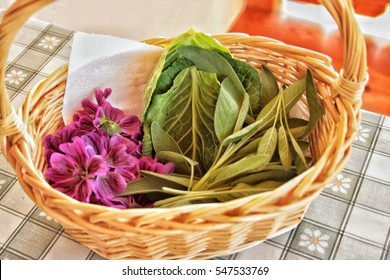A basket full of natural medicinal products against cold and sore throat