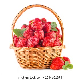 Basket full of strawberries isolated on white background