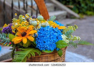 A basket full of summer filed flowers