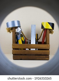 basket full of tools on a light background