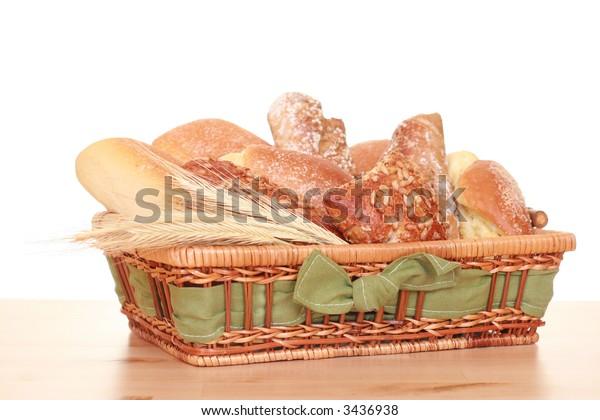 basket full of various rolls - breakfast time