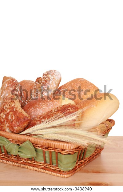 basket full of various rolls - breakfast time