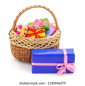 Basket with gifts on the white isolated background.