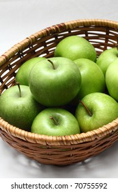 A basket of green apples