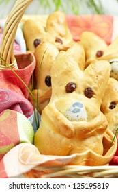 Basket of hot Easter bunny buns