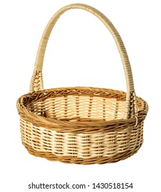 Basket isolated on white background with napkin