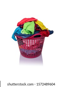 A basket with laundry isolated on a white background.