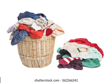 Basket with linen for laundry. On a white background.