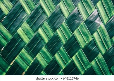 basket making, zigzag weave of palm leaf, green foliage interlace texture background