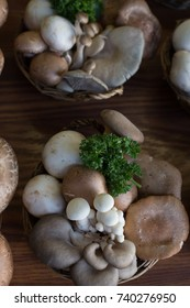 A basket of mixed mushrooms found at the market.