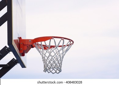 Basket with net. Clean sky on the background.