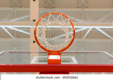 basket and network under the lights of the hall