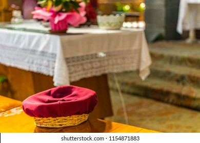 Basket for the offertory during mass