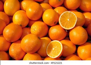 Basket of oranges including orange slices