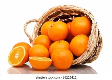 Basket of oranges on white background