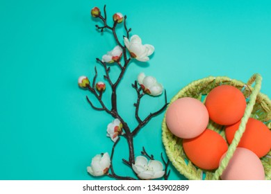 basket with painted eggs and a blooming branch on a turquoise background. happy Easter card