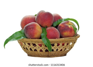 Basket of peach fruits isolated on white background