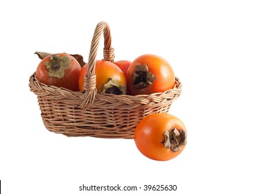 basket with a persimmon on a white background